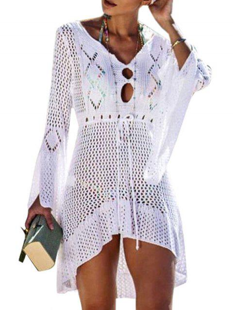 Crochet Flare Sleeve High Low Beach Dress - WHITE ONE SIZE