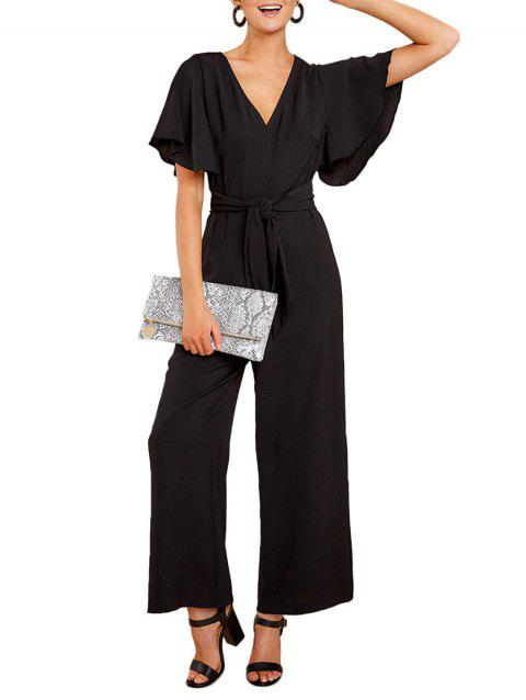 Butterfly Sleeve Belted Wide Leg Jumpsuit - BLACK XL