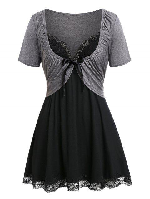 Plus Size T Shirt with Cami Tank Top - CARBON GRAY 3X