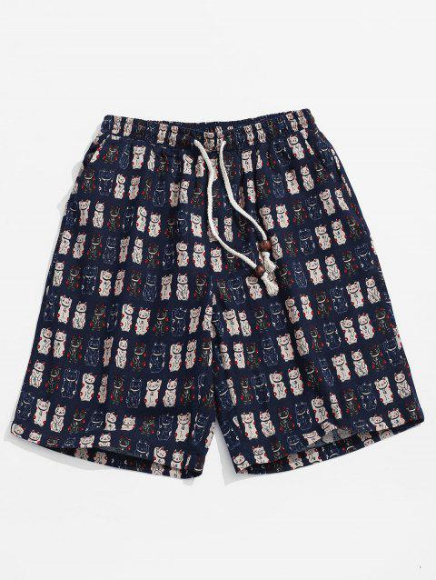 Cat Pattern Casual Board Shorts - CADETBLUE 4XL