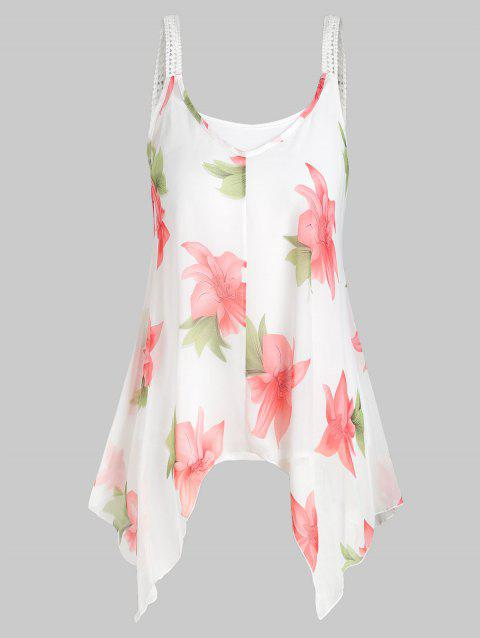 Plus Size Camisole and Floral Chiffon Tank Top
