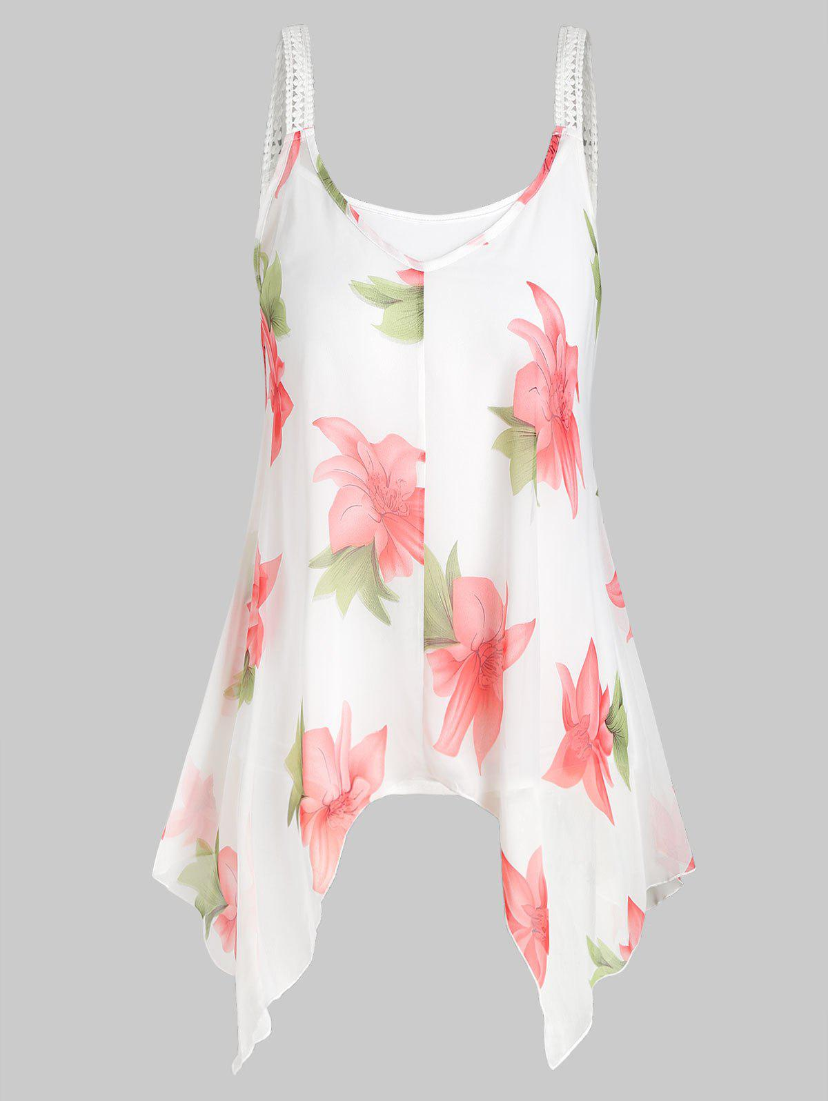 Plus Size Camisole and Floral Chiffon Tank Top - WHITE 4X