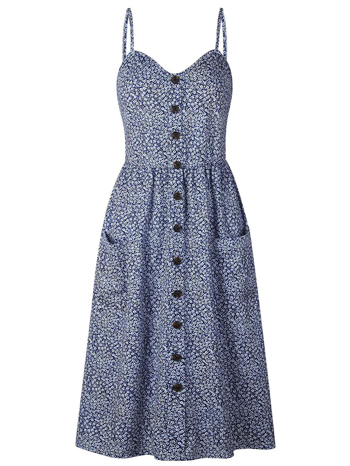 Smocked Back Floral Cami Pocket Dress - DENIM BLUE L
