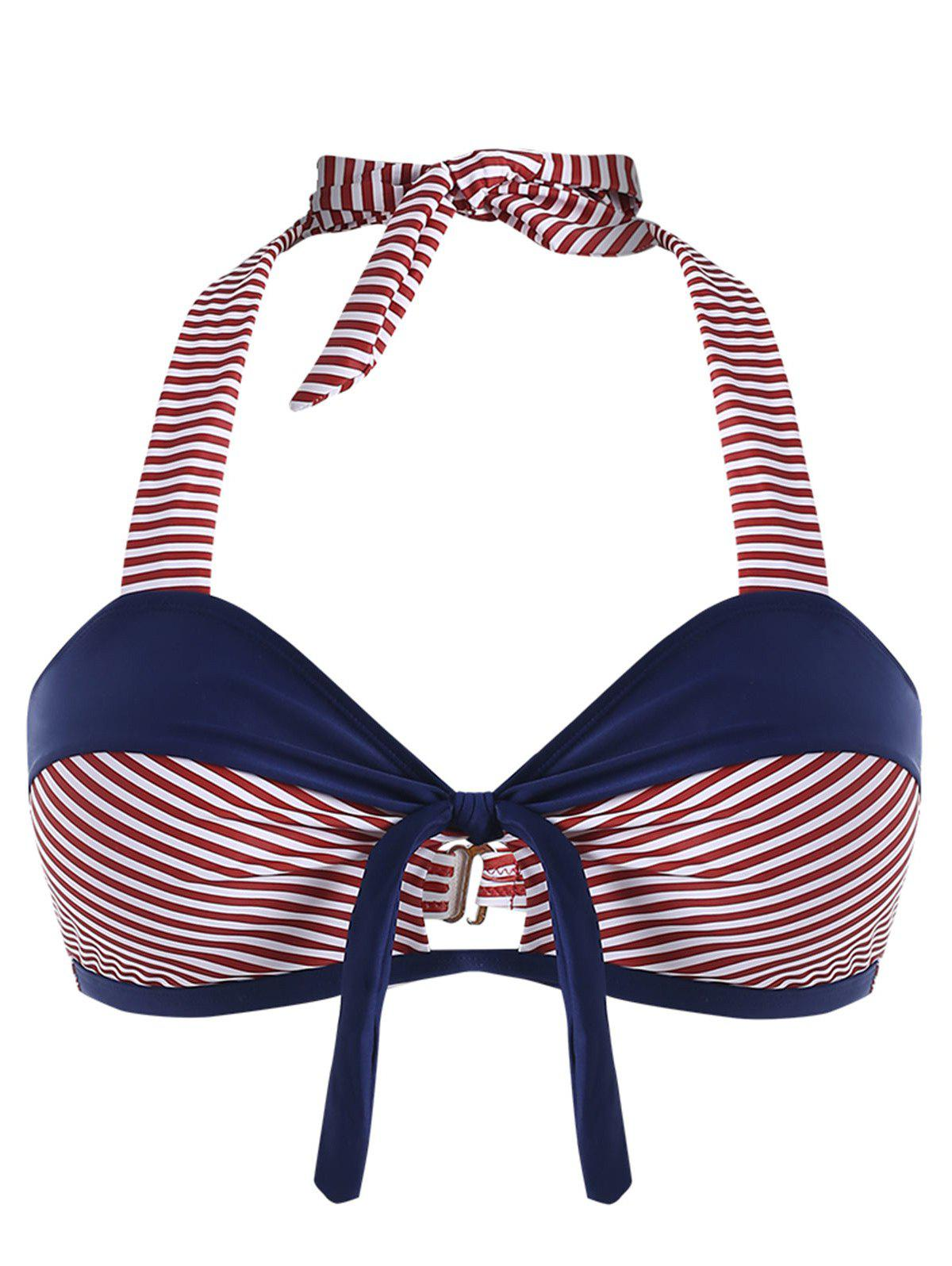 Plus Size Striped Halter Neck Swim Bra - NAVY BLUE TOP 4X