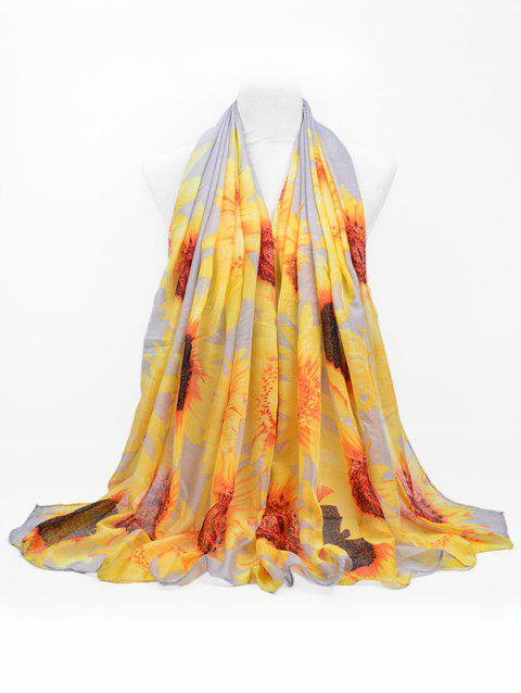 Sunflower Print Beach Long Scarf - GRAY