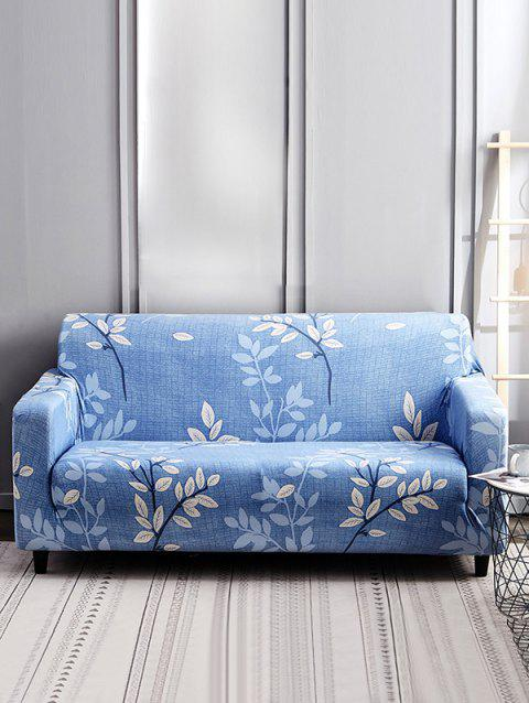 Leaf Branch Print Stretch Couch Cover - AZURE TWO SEATS