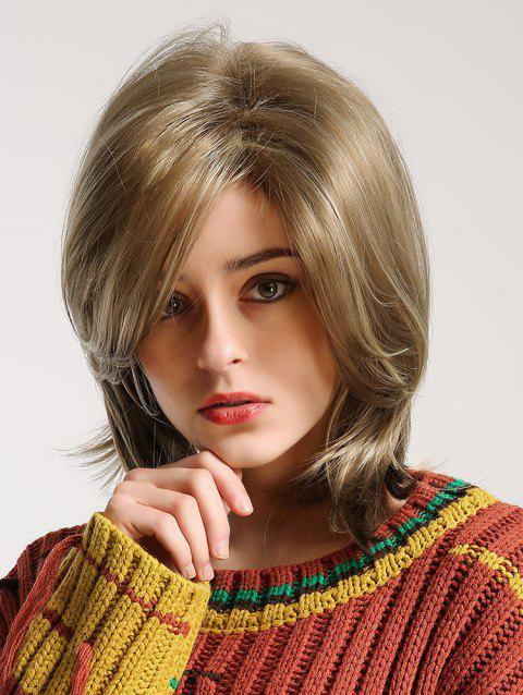 Medium Side Bang Fluffy Straight Synthetic Wig - BLONDE