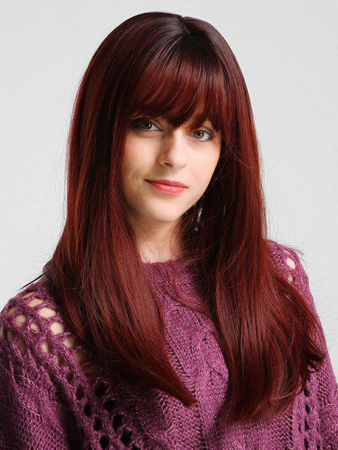Long See-through Bang Solid Straight Synthetic Wig - multicolor