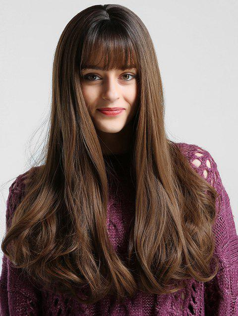 See-through Bang Long Body Wave Synthetic Wig - multicolor