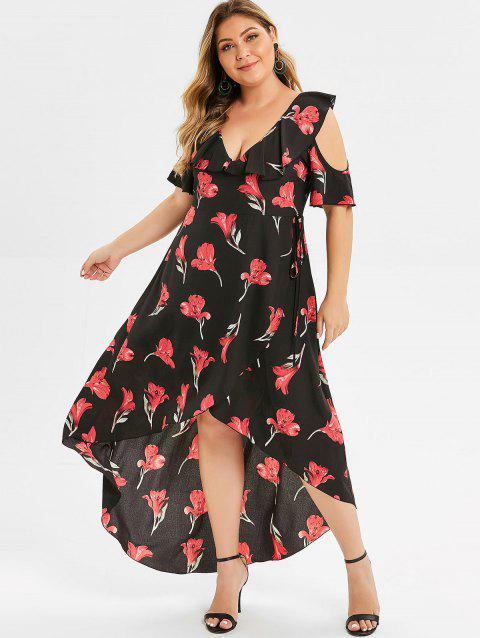 Plus Size High Low Floral Maxi Dress