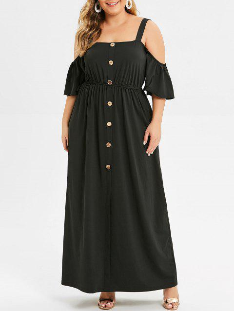 41% OFF] 2019 Plus Size Cold Shoulder Buttons Maxi Dress In BLACK ...