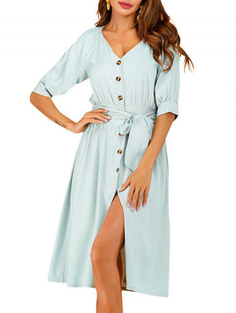 Button Up Belted Raglan Sleeve Dress - PALE BLUE LILY L