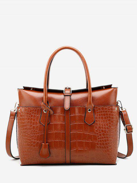Solid Color Large Capacity Handbag - LIGHT BROWN