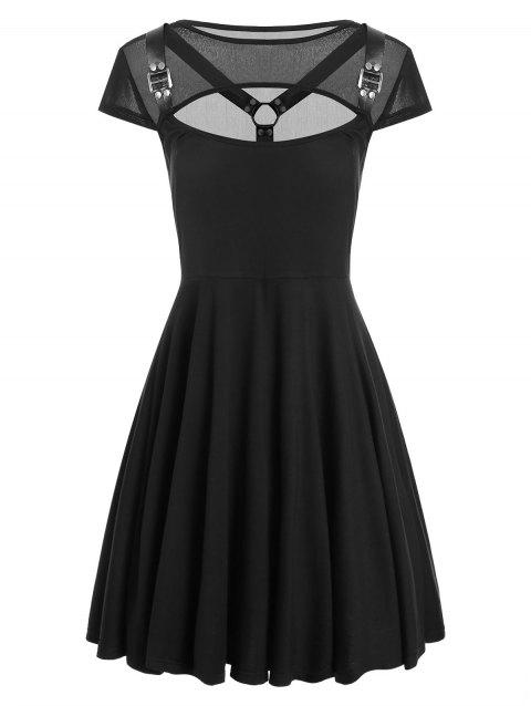 Mesh Insert Cut Out Skater Dress - BLACK 2XL