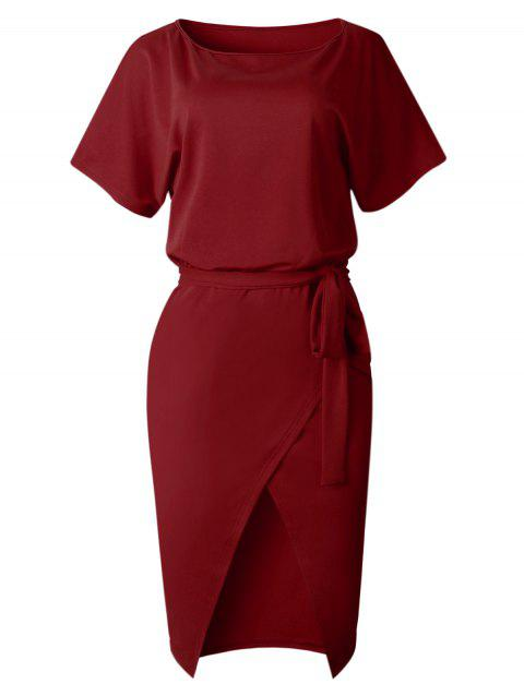 Front Slit Belted Tight Dress - RED WINE XL
