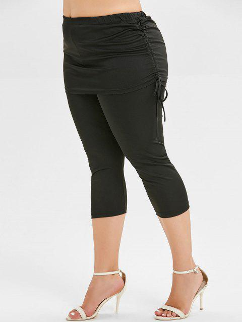 Plus Size Cinched Skirted Leggings - BLACK 3X