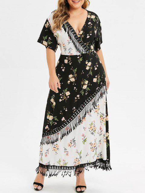 915c6217cb1 17% OFF  2019 Plus Size Floral Print Two Tone Maxi Dress In ...