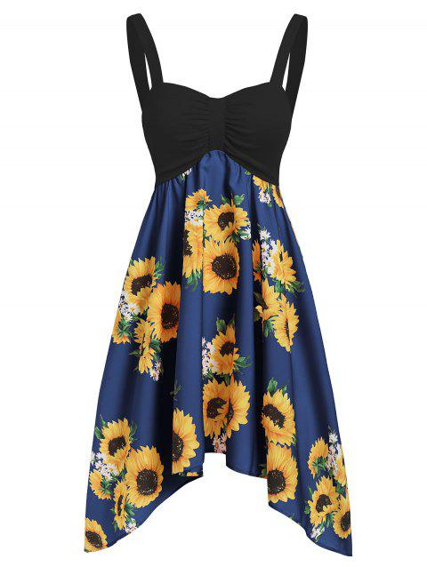 Backless Asymmetric Sunflower Summer Dress - BLUEBERRY BLUE S