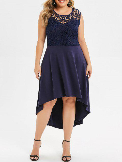 94e1539b4ff 17% OFF  2019 Lace Panel High Low Plus Size Midi Dress In MIDNIGHT ...