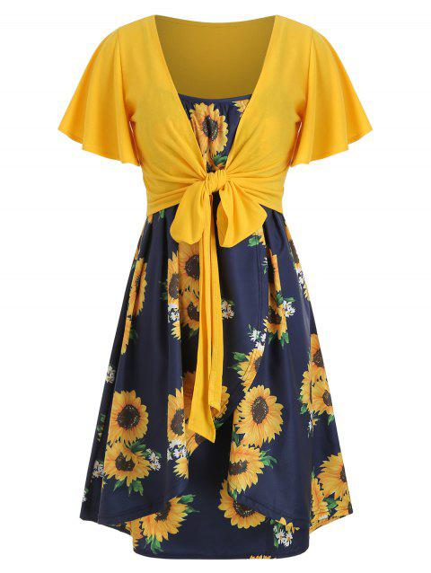 Knotted Top and Sunflower Cami Dress Set - YELLOW 3XL