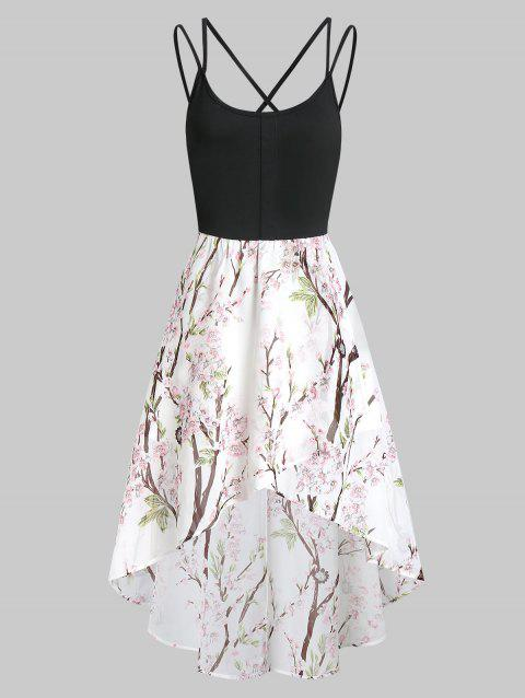 High Low Floral Cross Back Cami Dress - WHITE XL