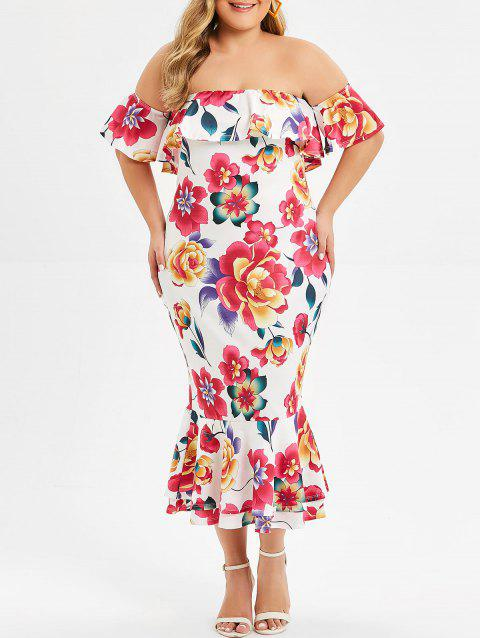 Overlay Floral Off Shoulder Mermaid Plus Size Dress - WHITE 5X