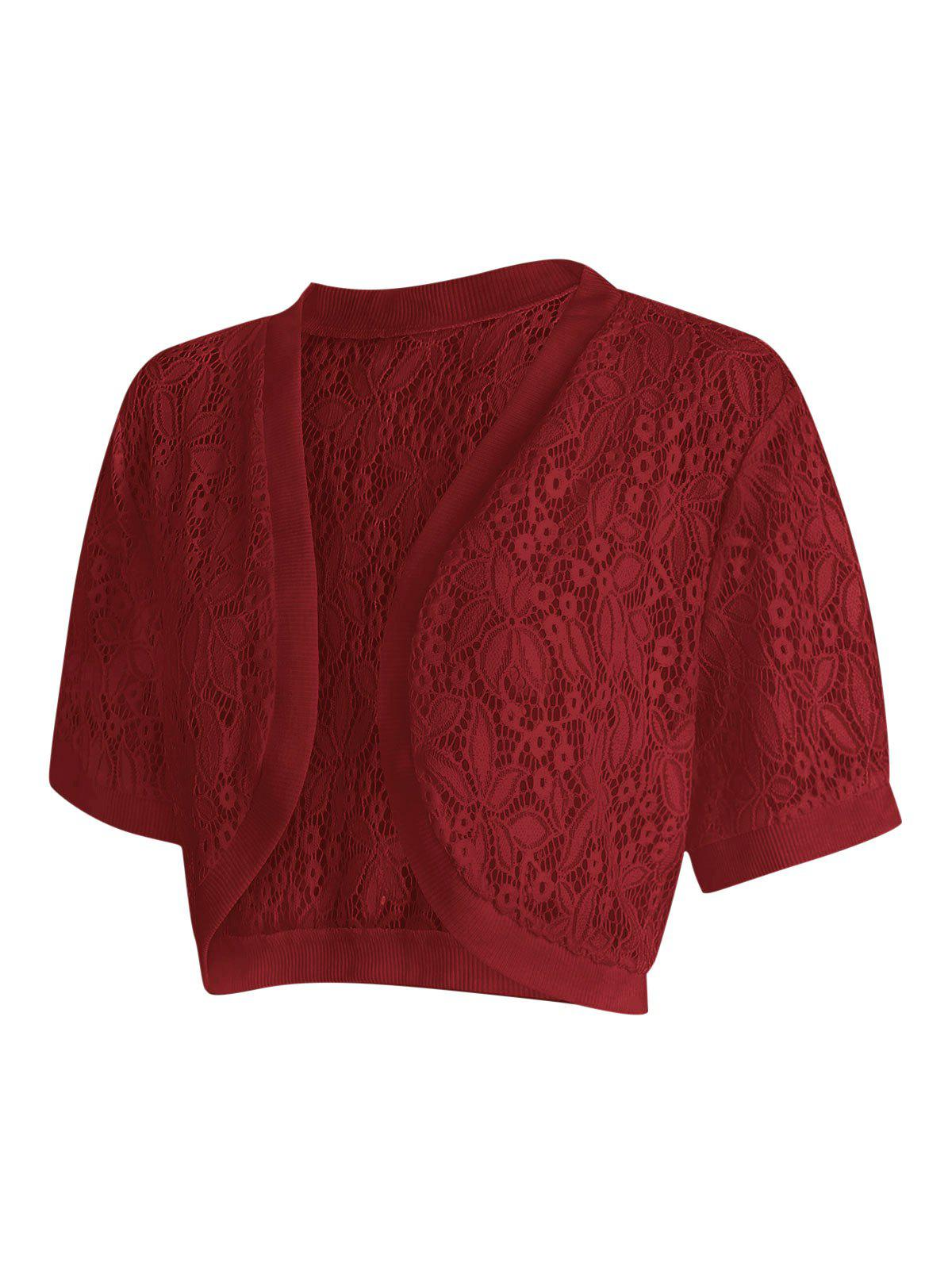 Plus Size Open Front Lace Panel Crop Top - RED WINE 2X