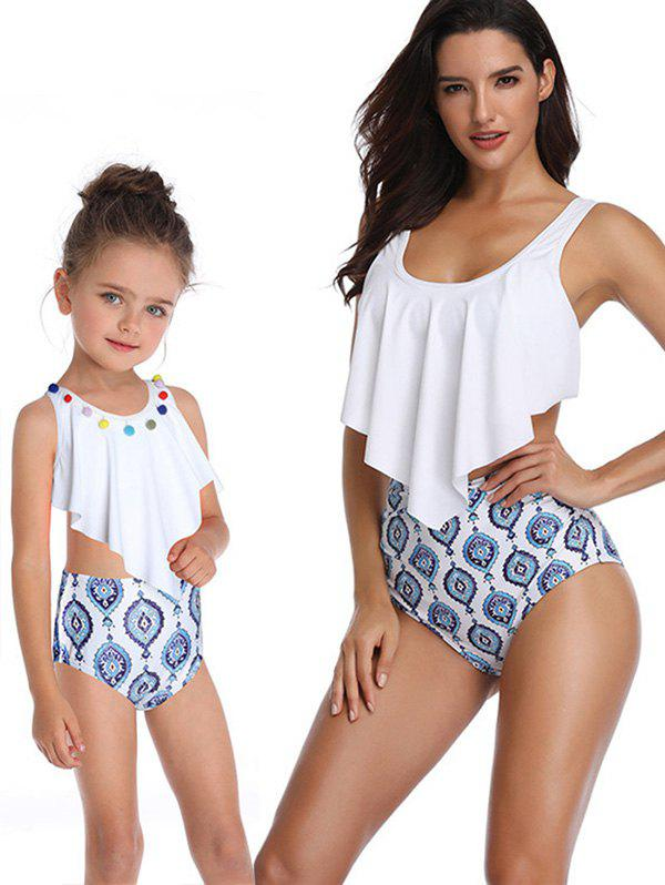Knotted Printed Overlay Family Swimsuit - WHITE MOM S