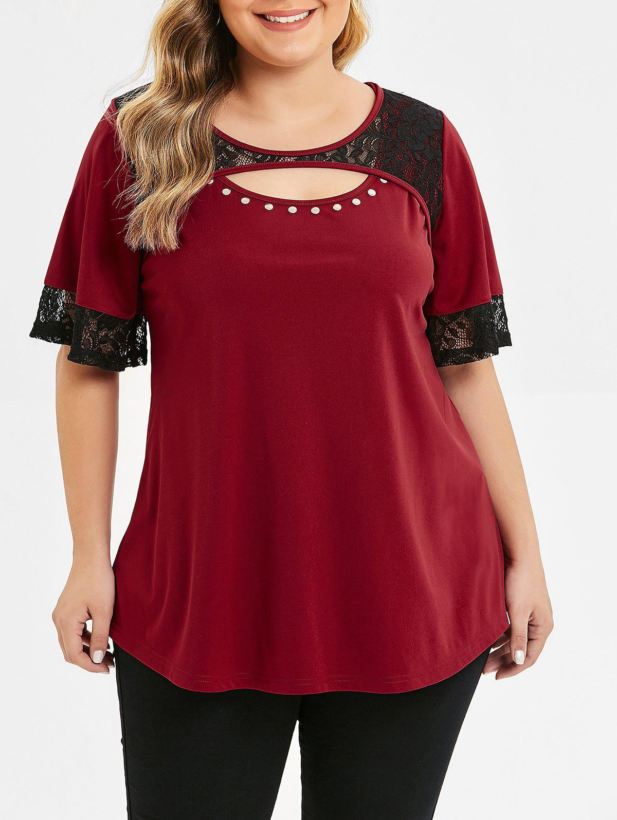 Cut Out Plus Size Lace Panel T-shirt - RED WINE L