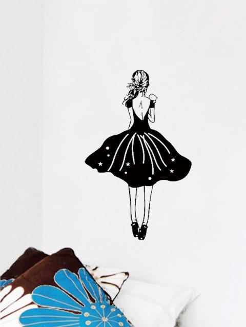 The Back of Girl Print Wall Stickers - BLACK