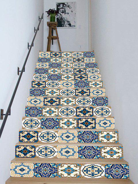 Bohemian Patchwork Patterned Removable Stair Stickers - BLUE 18*100CM*13PCS
