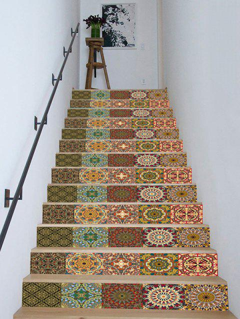 Bohemian Printed Removable Stair Stickers - BROWN 18*100CM*13PCS