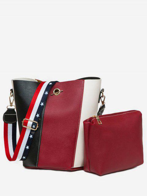 Jointed Leather Shoulder Bag Set - RED