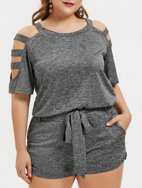 Plus Size Cut Out Marled Two Piece Outfits - ASH GRAY L