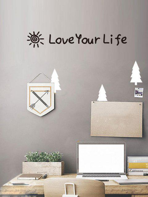 Love Your Life Print Removable Wall Art Stickers - BLACK