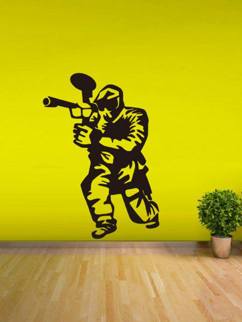 Men with Gun Print Removable Wall Art Stickers - BLACK