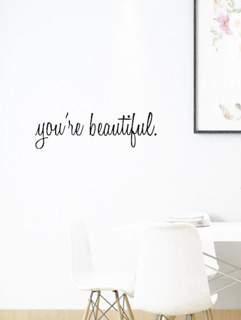 You Are Beautiful Print Removable Wall Art Stickers - BLACK
