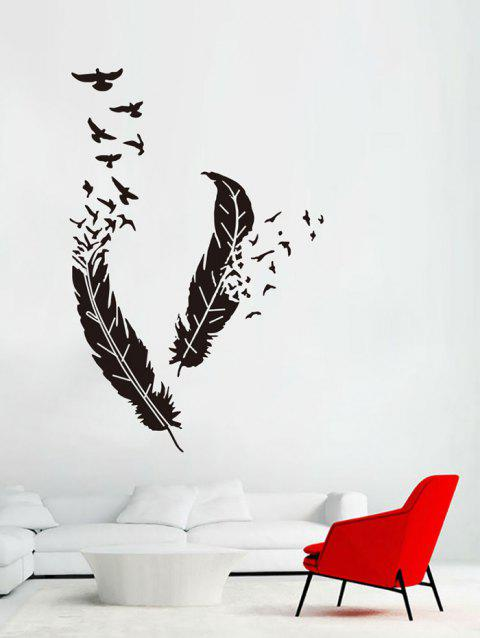 Creative Feather and Birds Print Wall Stickers - BLACK