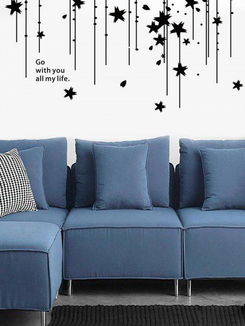Stars Quote Print Removable Wall Art Stickers - BLACK