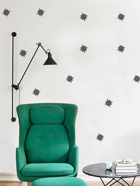 Flowers Print Removable Wall Art Stickers - BLACK