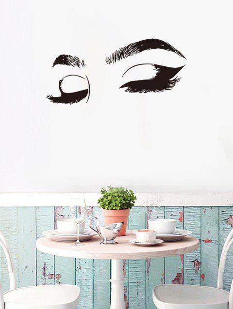 Eyelashes and Eyebrows Print Removable Wall Art Stickers - BLACK