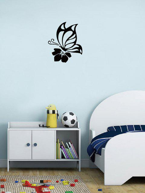 Butterfly Flower Pattern Wall Stickers - BLACK