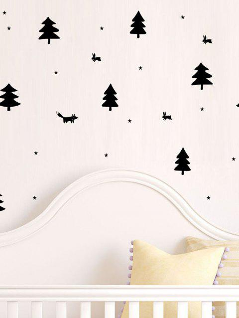 Tree and Animals Print Removable Wall Art Stickers - BLACK