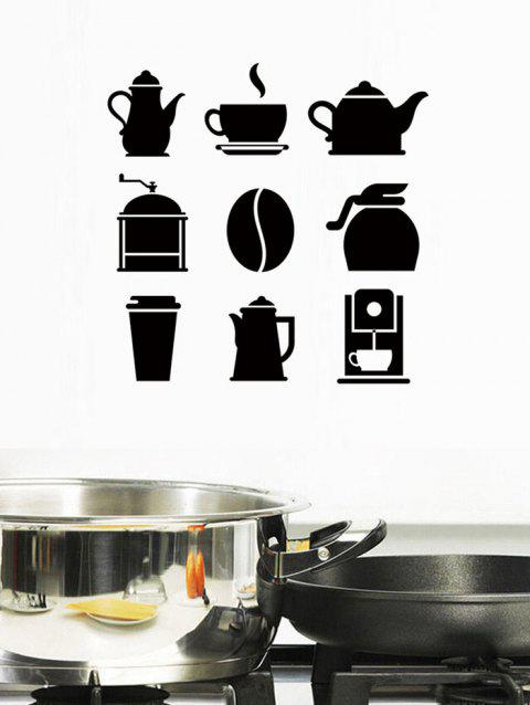 Coffee kitchenware Print Removable Wall Art Stickers - BLACK