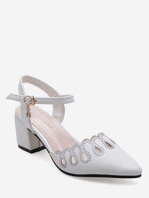 Retro Hollowed Out Ankle Strap Sandals - WHITE EU 39