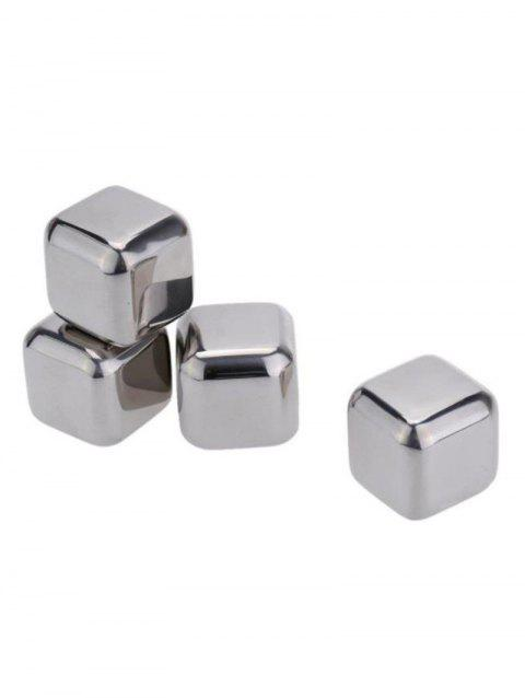 4 Pcs Stainless Steel Reusable Ice Cubes for Whiskey Beer - SILVER