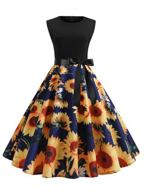fb675bc0b6a1 41% OFF] 2019 Sunflower Print Sleeveless Belted Flare Dress In ...