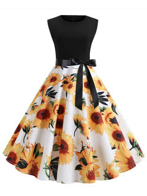 Sunflower Print Sleeveless Belted Flare Dress - WHITE L