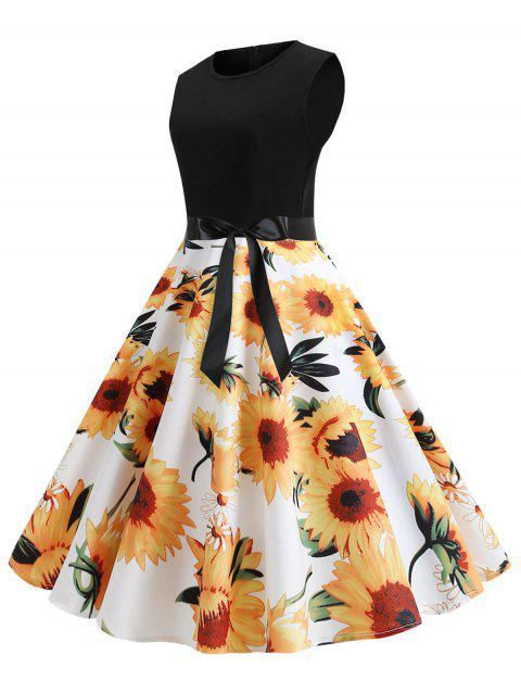 730f7e71cdc1 41% OFF] 2019 Sunflower Print Sleeveless Belted Flare Dress In WHITE ...