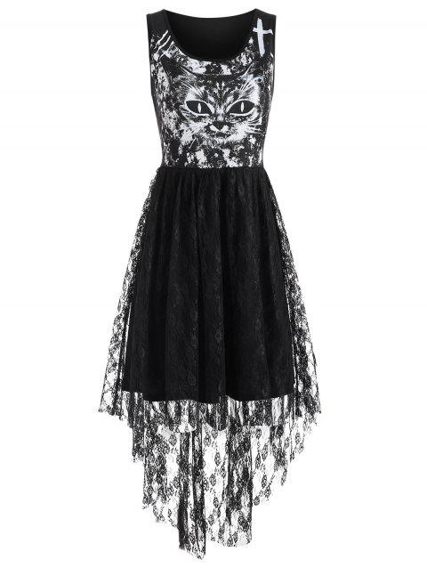 Cat Print Lace Insert High Low Dress - BLACK S